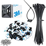 """XHF 3/4"""" Strong Cable Zip Tie Mounts whih Cable Ties, Self Adhesive Wire Cable Clips Organizer Holders Black 100 PCS"""