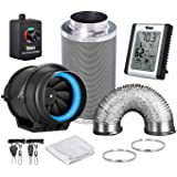 iPower GLFANXEXPSET6D16CHUMD 6 Inch 350 CFM Inline Carbon Filter 16 Feet Ducting with Fan Speed Controller and Temperature Hu