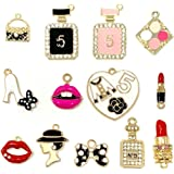 JIALEEY Assorted Gold Plated Enamel Lipstick Perfume Fashion Style Charm Pendant DIY for Necklace Bracelet Jewelry Making and