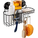 HASKO accessories - Suction Cup Shower Caddy - Basket for Shampoo - Combo Organizer Basket with Soap Holder and Hooks - Power