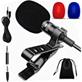 Lavalier Microphone, Professional Lapel Microphone, 3.5mm Omnidirectional Condenser Mic Compatible for iPhone iPad Mac Androi