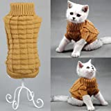 Bolbove Cable Knit Turtleneck Sweater for Small Dogs & Cats Knitwear Cold Weather Outfit (Brown, Medium)