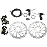 BlueSunshine Front and Back Disk Brake Kit - Aluminum Alloy Calipers, 2 Pcs Stainless Steel G3 160 mm Rotors & Cable & Brake