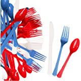 240 Pack USA Patriotic Decorative Cutlery Set in Red, White and Blue. Includes 80 Spoons, 80 Forks, 80 Knives. Quality Materi