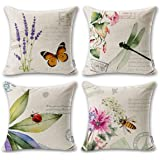 ONWAY Outdoor Garden Decoration Bee/Butterfly / Dragonfly/Ladybug Pillow Case Leaf/Lavender / Flower Decorative Throw Pillow