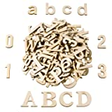 Satinior 124 Pieces Totally Wooden Capital Letter Wood Lower Case Letters Wooden Numbers for Arts Crafts DIY Decoration Displ