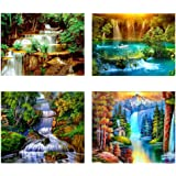 4 Pack 5D Full Drill Diamond Painting Kit, Landscape Rhinestone Embroidery Paintings Pictures Arts Craft for Home Wall Decor,