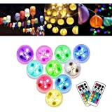 10Pack Paper Lantern Party LED Lights Battery Powerd Mini Hanging RGB Multi Color Submersible Xmas Light with Rmote Control f