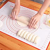 Large Silicone Pastry Mat Extra Thick Non Stick Baking Mat with Measurement Fondant Mat, Counter Mat, Dough Rolling Mat, Oven