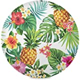 Baofu Summer Pineapple Placemats Round Table Mats Non-Slip Washable Heat Resistant Waterproof Colorful Spring Placemat for Ki