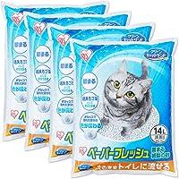 アイリスオーヤマ 猫砂 ペーパーフレッシュ トイレに流せる 固まる PFC-14L (紙製) 14L×4袋 (ケース販売…