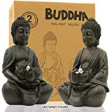 """Meditating Buddha Statue Figurine Sitting Sculpture Decoration 8"""" Tealight Holder/Candle Holder for Home, Garden, Patio with"""