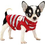 LOPHIPETS 100% Cotton Striped Dog Shirts for Small Dogs Chihuahua Puppy Clothes Tank Vest-Red and Gray Strips/XXS