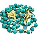Nazareth Store Saint Benedict Rosary Necklace Turquoise Beads San Benito Gold Enamel Cross & Holy Mary Heart Locket Centerpie