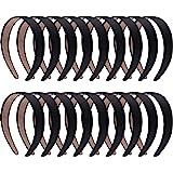 SIQUK 18 Pieces Satin Headbands Black Headband 1 Inch Non-slip Ribbon Hairband DIY Hair Headbands for Women and Girls