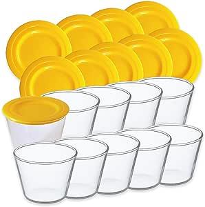 iwaki イワキ プリンカップ 10個セット フタ付き 保存容器 耐熱ガラス イエロー 100ml スタッキング SKT904-10Y