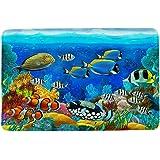 HIYOO Ocean Underwater Seabed Coral Theme Design Non Slip Bathmat, Doormat, Bathroom Bath Floor Kitchen Area Door Entrance Ru