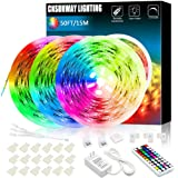 15M Led Strip Light, CNSUNWAY 450LEDs 5050 RGB Led Rope Kit with 44 Keys RF Remote Controller Flexible Color Changing Tape Li