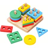 Boxiki kids Wooden Stacking Toys & Shape Sorting Board | Geometric Shape Stacker | Eco-Friendly & Non-Toxic Wooden Toy | Earl