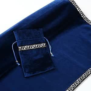 RainbowOcean タロットクロス 高級 ベルベット タロット カード用ポーチ付 2点セット 大判サイズ 66×66cm(ブルー)