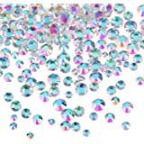 Bememo 3456 Pieces Nail Crystals AB Nail Art Rhinestones Round Beads Flatback Glass Charms Gems Stones, 6 Sizes for Nails Dec