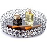 Feyarl Crystal Beads Cosmetic Round Tray Jewelry Organizer Mirrored Decorative(Silver)