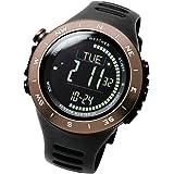 [ラドウェザー]デジタル時計 温度計 歩数計 100m 防水時計 (ブラウン反転)