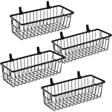 Farmhouse Metal Wire Bin Basket with Handle - Small, 4 Pack - Rustic Home Storage Organizer for Cabinets,Pantry,Closets,Cupbo