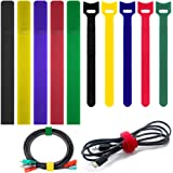 100 Pack Cable Ties with 2 Types FineGood Multi-Color Reusable Fastening Adhesive Cord Rope Organizer Management for Tablet L