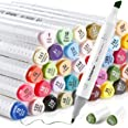 Ohuhu Alcohol Art Markers, Double Tipped Sketch Marker (Fine and Chisel), 60 Well-selected Colors +1 Colorless Marker Blender