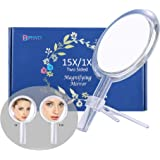 Beauty Planet 6 Inch 15X Magnifying Mirror, Two Sided Mirror, 15X/1X Magnification, Makeup Mirror with Handheld/Stand,Use for