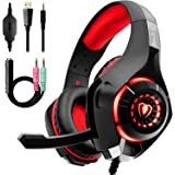 Beexcellent Gaming Headset with Noise Canceling mic, PS4 Xbox One Headset with Crystal 3D Gaming Sound, Memory Foam Earpad fo