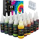 26 Colors Tie Dye Kit with Spray Nozzles Permanent One Step Tie Dye Kits for Textile Craft Arts Shirt Fabric Canvas Shoes Tsh