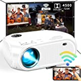 WiFi Projector, 2020 Upgraded 4500 Lux Mini Projector, Supported Synchronize Smartphone Screen by WiFi/USB Cable for Outdoor