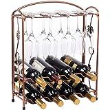 Countertop Metal Wine Racks, Free Standing Wine Bottle Holder Organizer Cabinet Wine Holder Storage Shelf - Hold 8 Bottles Ro