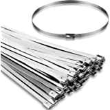 50PCS 11.8Inch Metal Cable Zip Ties - 304 stainless steel Heavy Duty Self-locking Cable Wire Tie Wrap for Fence Exhaust Wrapp
