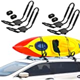 Adust 2 Pair J-Bar Rack for Kayak Carrier Canoe Boat Paddle Board Surfboard Roof Top Mount on Car SUV Truck Crossbar with Rat