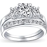 3CT Round Solitaire 3 Stone Past Present Future Promise Pave CZ Engagement Wedding Ring 925 Sterling Silver