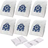 Synthetic 6 Vacuum Cleaner Bags + 2 x Pre-Motor Filter+ 2 x Exhaust Filter for Miele GN Blue Hyclean 3D Cat n Dog Complete C2
