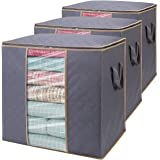 WiseLife Storage Bags 100L 3-Pack Large Blanket Clothes Organization and Storage Containers for Bedding, Comforters, Foldable