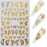 CCINEE Nail Art Adhesive Sticker Sheets Gold and Silver Color Butterfly Shapes Nail Art Decoration-1Sheet (Gold 1)