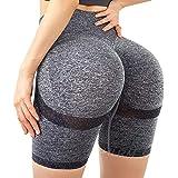 HURMES Women's High Waist Ruched Butt Lifting Tummy Control Yoga Shorts Scrunch Booty Short Workout Pants