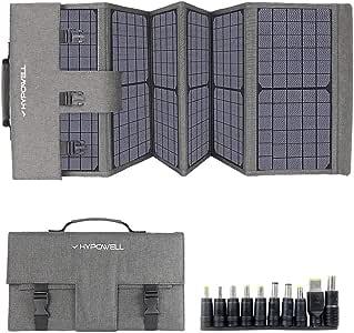 Hypowell 60Wソーラーパネル 単結晶 ソーラーチャージャー折りたたみ式 太陽光パネル DC/USB出力 type-C 急速充電QC3.0搭載 10種DCプラグ スマホ.ポータブル電源充電器 防水 収納便利 超薄型 コンパクト24ヶ月年保証