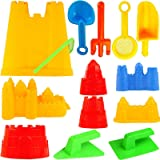 15 Piece Sand Castle Building Kit - Beach Toys Set with Large Bucket Rake Shovels Molds and More