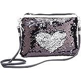 Women's Glitter Sequins Messenger Crossbody Shoulder Bags Fashion Envelopes Purse Clutch Handbags with Leather Strap