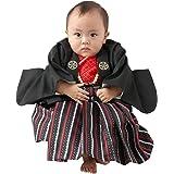 [京のみやび]男の子ベビー着物セット 羽織袴 黒・赤 100日-1才(60-70cm)