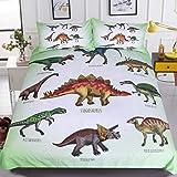 Sleepwish 3 Pieces Dinosaur Pattern Duvet Cover Set, Polyester & Polyester Blend, Dinosaur-1, Twin
