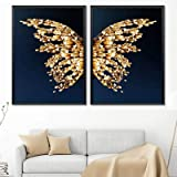 Modern Abstract Butterfly Picture Home Decor Canvas Painting Wall Art Golden Luxury Prints and Posters for Living Room Painti