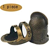 D&D指ぬき手芸裁縫指ぬき指プロテクター、調整可能な指金属シールドプロテクターピン針裁縫キルティングクラフトアクセサリーDIY裁縫用具