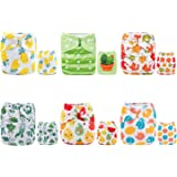 ALVABABY Cloth Diapers Pocket Reusable Washable Adjustable One Size for Baby Boys and Girls 6 Pack with 12 Inserts 6DM31-AU